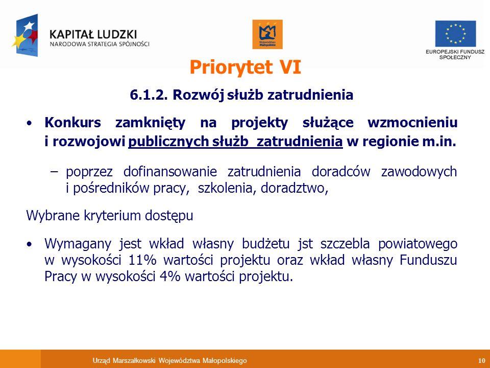 Urząd Marszałkowski Województwa Małopolskiego 10 Priorytet VI 6.1.2.