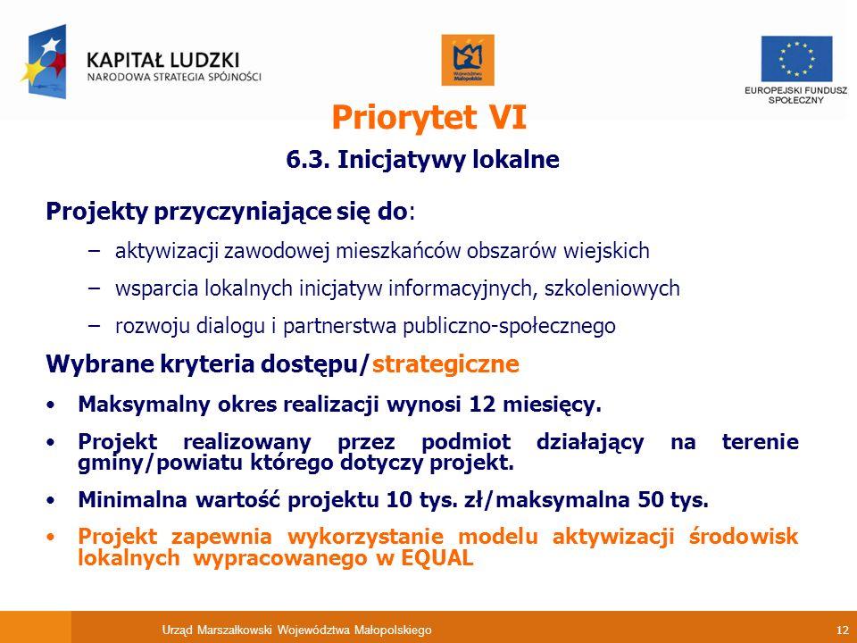 Urząd Marszałkowski Województwa Małopolskiego 12 Priorytet VI 6.3.