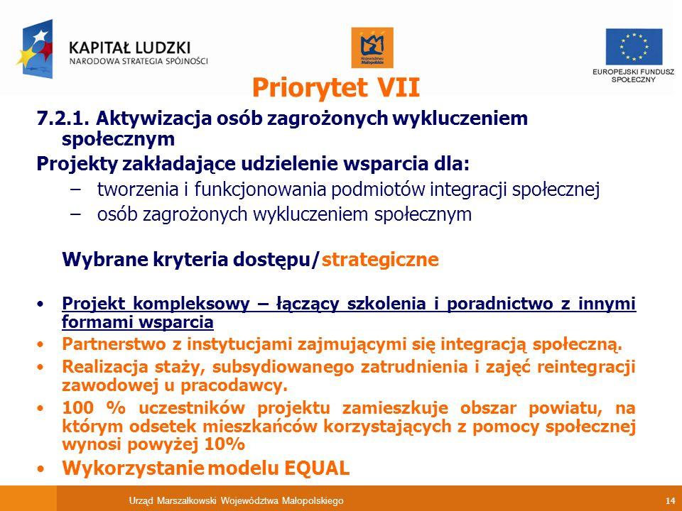 Urząd Marszałkowski Województwa Małopolskiego 14 Priorytet VII 7.2.1.