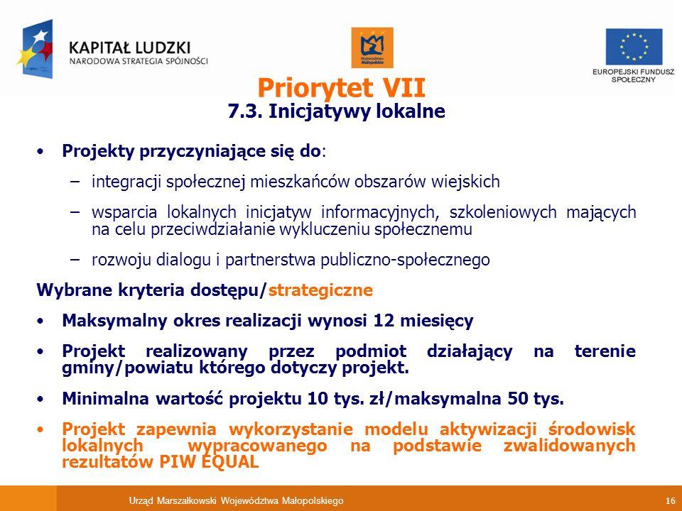 Urząd Marszałkowski Województwa Małopolskiego 16 Priorytet VII 7.3.