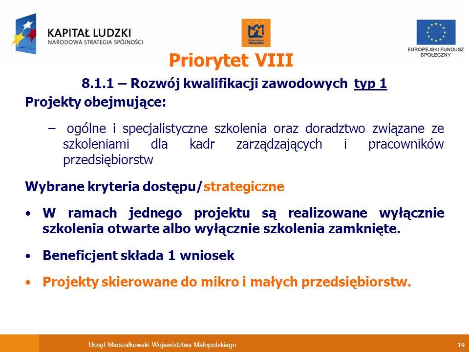 Urząd Marszałkowski Województwa Małopolskiego 19 Priorytet VIII 8.1.1 – Rozwój kwalifikacji zawodowych typ 1 Projekty obejmujące: – ogólne i specjalistyczne szkolenia oraz doradztwo związane ze szkoleniami dla kadr zarządzających i pracowników przedsiębiorstw Wybrane kryteria dostępu/strategiczne W ramach jednego projektu są realizowane wyłącznie szkolenia otwarte albo wyłącznie szkolenia zamknięte.