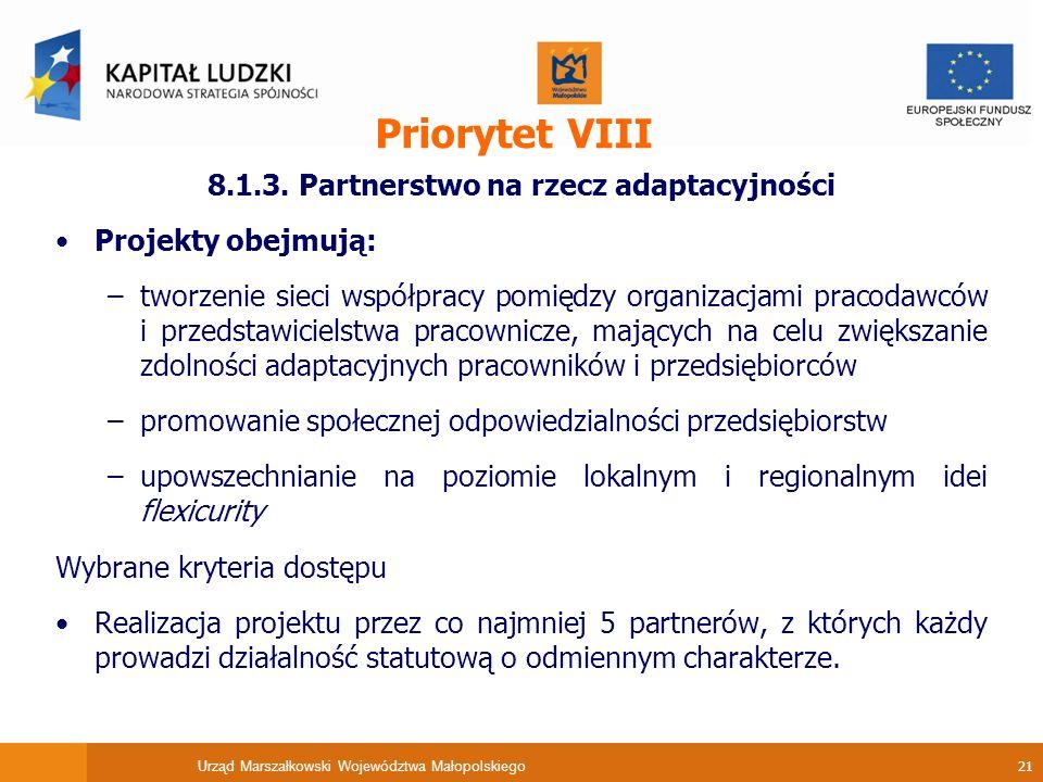Urząd Marszałkowski Województwa Małopolskiego 21 Priorytet VIII 8.1.3.