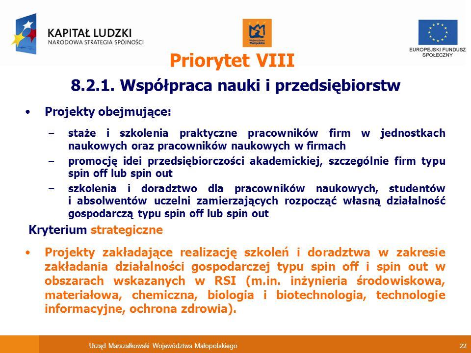Urząd Marszałkowski Województwa Małopolskiego 22 Priorytet VIII 8.2.1.