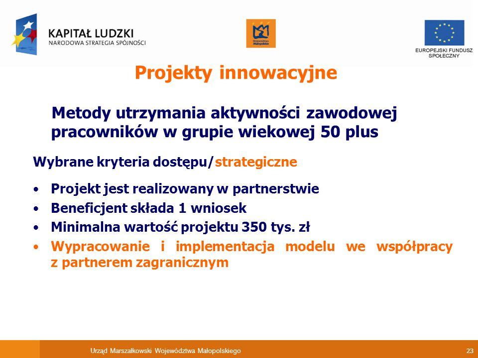 Urząd Marszałkowski Województwa Małopolskiego 23 Projekty innowacyjne Metody utrzymania aktywności zawodowej pracowników w grupie wiekowej 50 plus Wybrane kryteria dostępu/strategiczne Projekt jest realizowany w partnerstwie Beneficjent składa 1 wniosek Minimalna wartość projektu 350 tys.