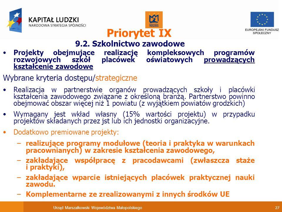 Urząd Marszałkowski Województwa Małopolskiego 27 Priorytet IX 9.2.