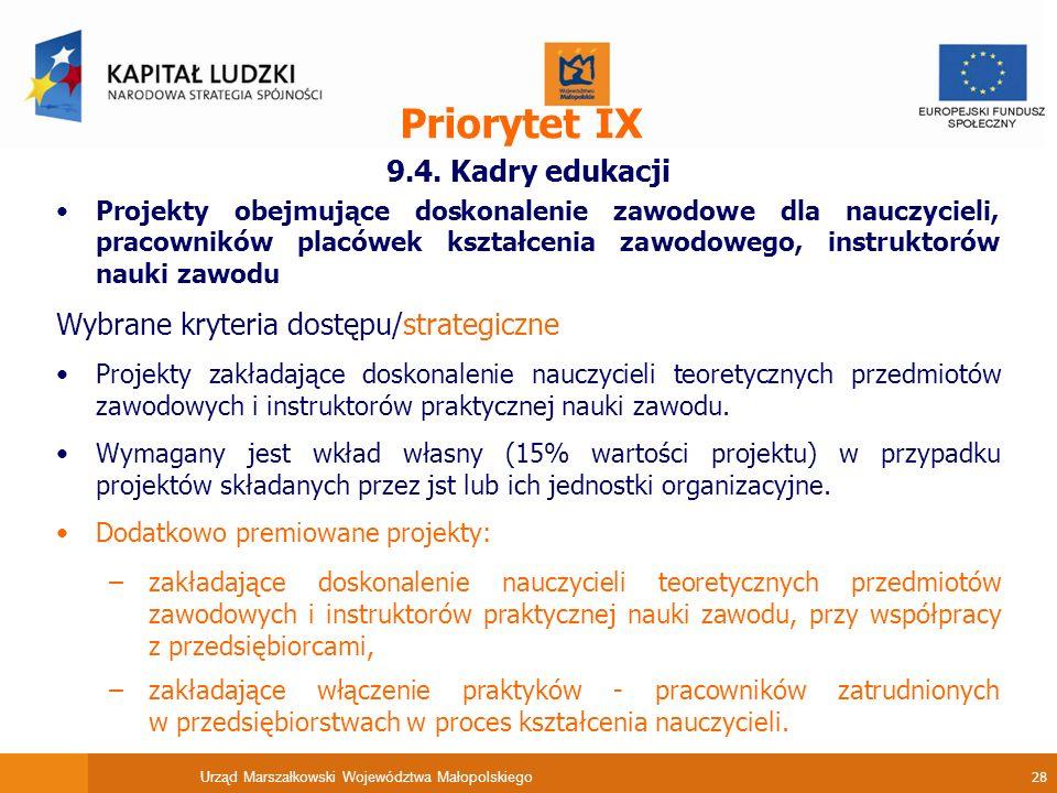 Urząd Marszałkowski Województwa Małopolskiego 28 Priorytet IX 9.4.