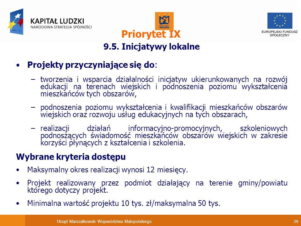Urząd Marszałkowski Województwa Małopolskiego 29 Priorytet IX 9.5.