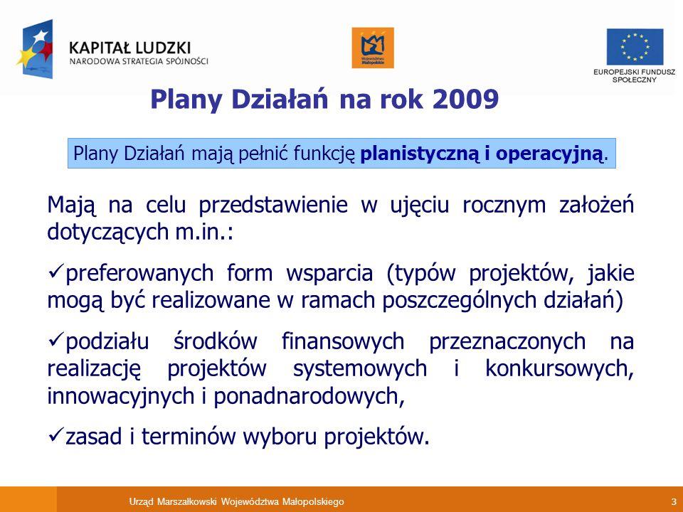 Urząd Marszałkowski Województwa Małopolskiego 3 Plany Działań na rok 2009 Mają na celu przedstawienie w ujęciu rocznym założeń dotyczących m.in.: preferowanych form wsparcia (typów projektów, jakie mogą być realizowane w ramach poszczególnych działań) podziału środków finansowych przeznaczonych na realizację projektów systemowych i konkursowych, innowacyjnych i ponadnarodowych, zasad i terminów wyboru projektów.