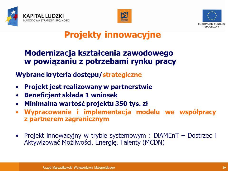 Urząd Marszałkowski Województwa Małopolskiego 30 Projekty innowacyjne Modernizacja kształcenia zawodowego w powiązaniu z potrzebami rynku pracy Wybrane kryteria dostępu/strategiczne Projekt jest realizowany w partnerstwie Beneficjent składa 1 wniosek Minimalna wartość projektu 350 tys.