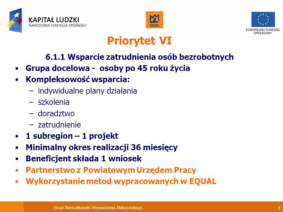 Urząd Marszałkowski Województwa Małopolskiego 8 Priorytet VI 6.1.1 Wsparcie zatrudnienia osób bezrobotnych Grupa docelowa - osoby po 45 roku życia Kompleksowość wsparcia: –indywidualne plany działania –szkolenia –doradztwo –zatrudnienie 1 subregion – 1 projekt Minimalny okres realizacji 36 miesięcy Beneficjent składa 1 wniosek Partnerstwo z Powiatowym Urzędem Pracy Wykorzystanie metod wypracowanych w EQUAL