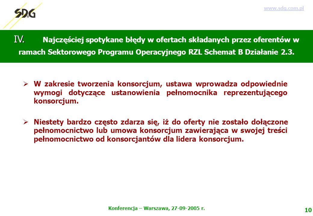 10 Konferencja – Warszawa, 27-09-2005 r. www.sdg.com.pl IV.
