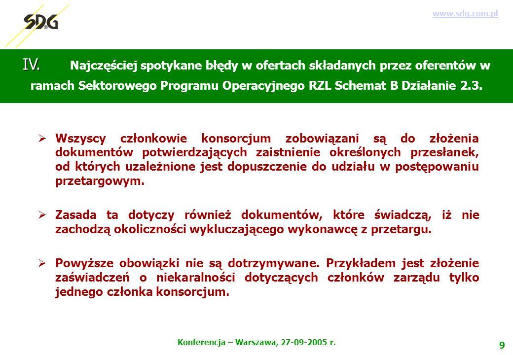 9 Konferencja – Warszawa, 27-09-2005 r. www.sdg.com.pl IV.