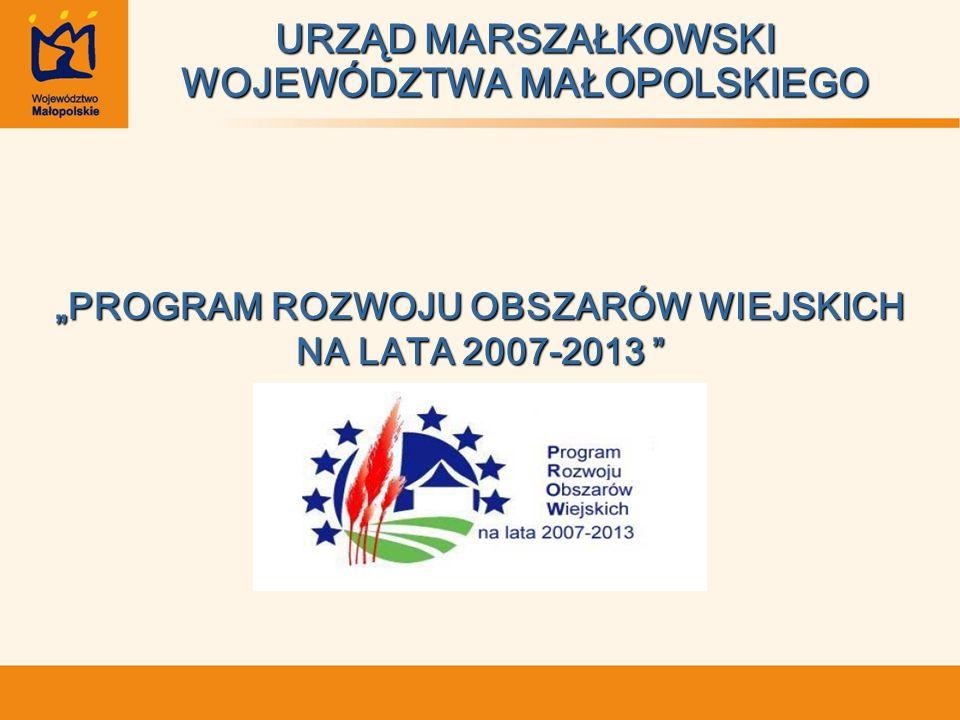 URZĄD MARSZAŁKOWSKI WOJEWÓDZTWA MAŁOPOLSKIEGO PROGRAM ROZWOJU OBSZARÓW WIEJSKICH NA LATA 2007-2013 NA LATA 2007-2013