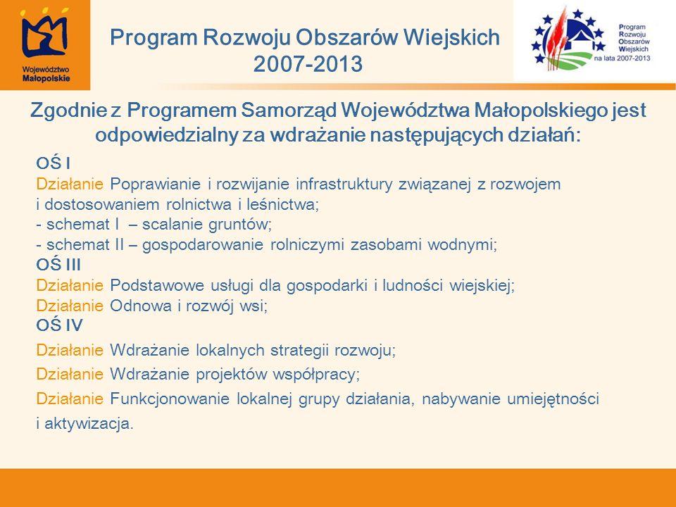 Zgodnie z Programem Samorząd Województwa Małopolskiego jest odpowiedzialny za wdrażanie następujących działań: OŚ I Działanie Poprawianie i rozwijanie infrastruktury związanej z rozwojem i dostosowaniem rolnictwa i leśnictwa; - schemat I – scalanie gruntów; - schemat II – gospodarowanie rolniczymi zasobami wodnymi; OŚ III Działanie Podstawowe usługi dla gospodarki i ludności wiejskiej; Działanie Odnowa i rozwój wsi; OŚ IV Działanie Wdrażanie lokalnych strategii rozwoju; Działanie Wdrażanie projektów współpracy; Działanie Funkcjonowanie lokalnej grupy działania, nabywanie umiejętności i aktywizacja.