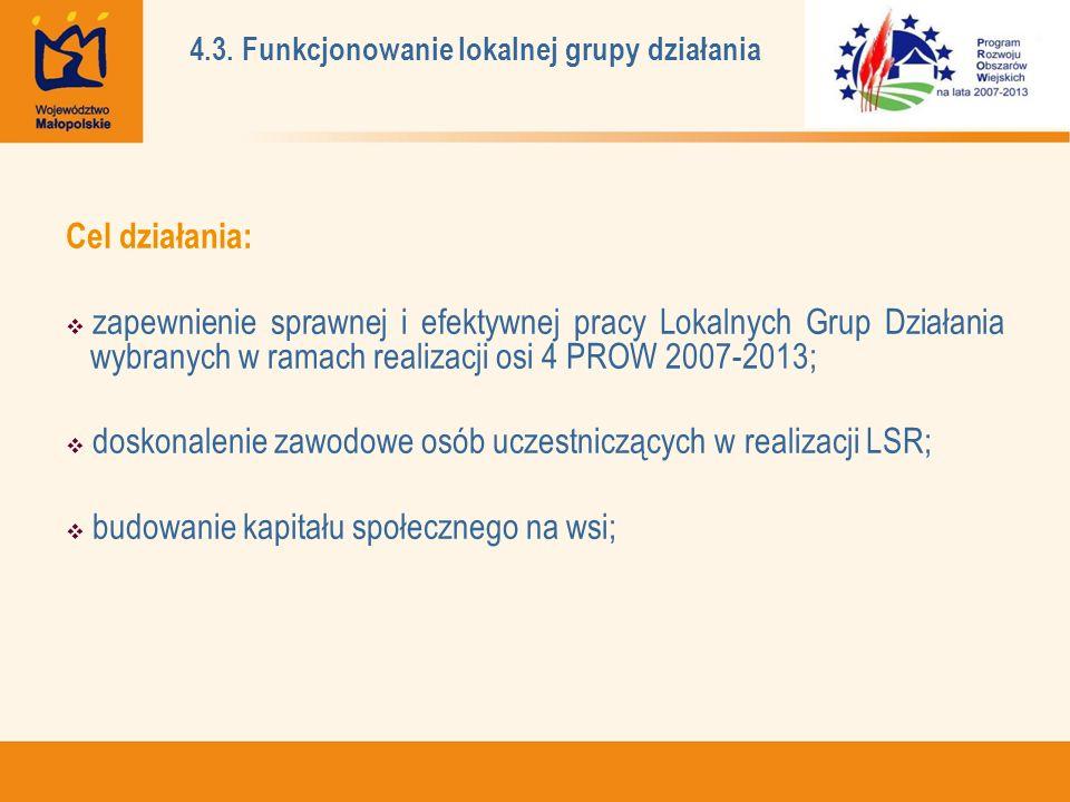 Cel działania: zapewnienie sprawnej i efektywnej pracy Lokalnych Grup Działania wybranych w ramach realizacji osi 4 PROW 2007-2013; doskonalenie zawodowe osób uczestniczących w realizacji LSR; budowanie kapitału społecznego na wsi; 4.3.