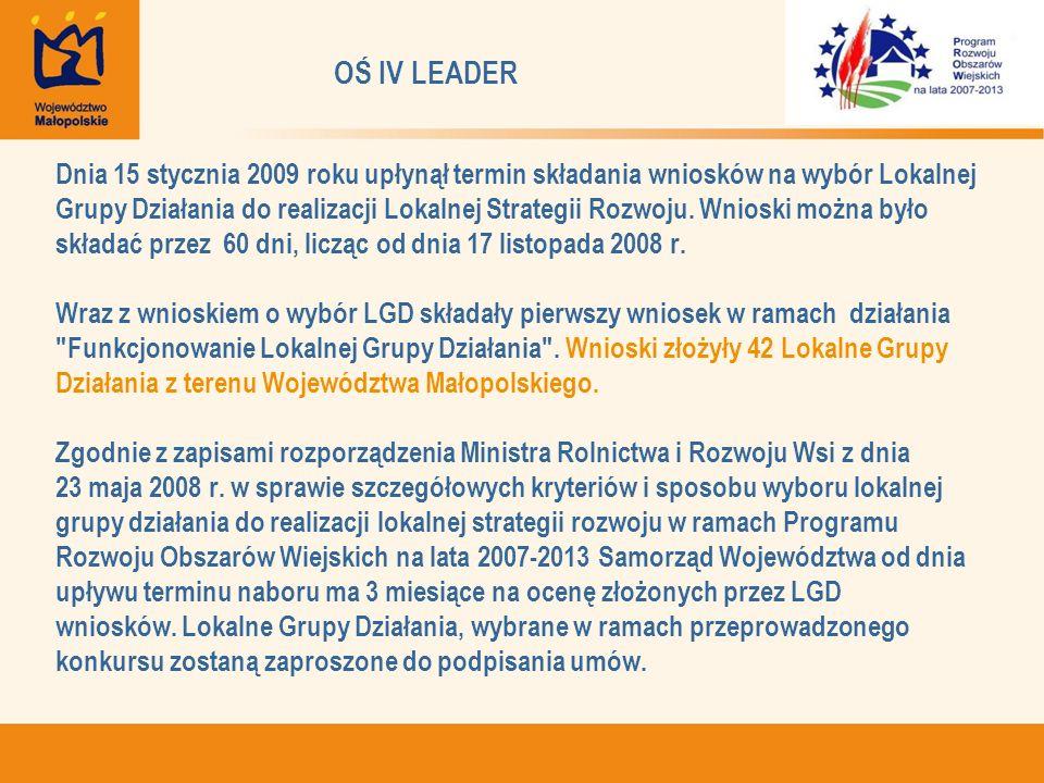 OŚ IV LEADER Dnia 15 stycznia 2009 roku upłynął termin składania wniosków na wybór Lokalnej Grupy Działania do realizacji Lokalnej Strategii Rozwoju.