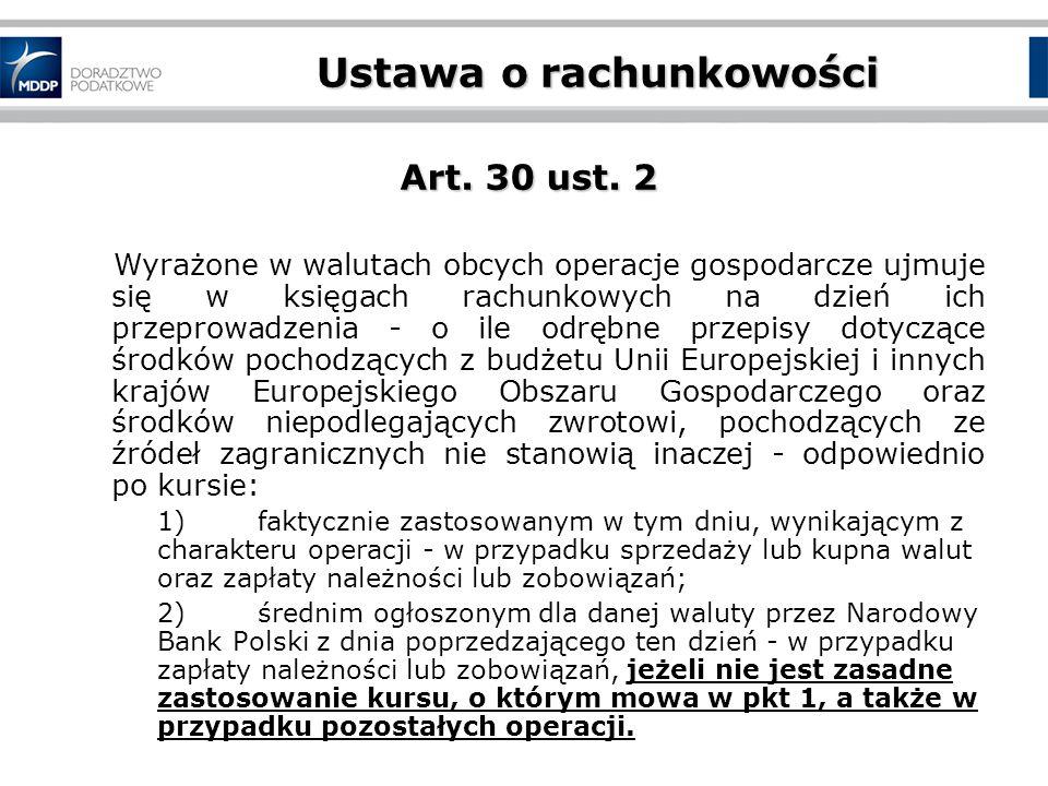 Ustawa o rachunkowości Art.30 ust.