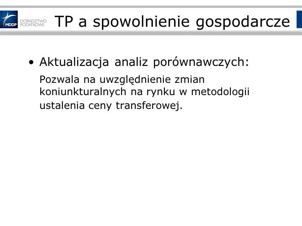 TP a spowolnienie gospodarcze Aktualizacja analiz porównawczych: Pozwala na uwzględnienie zmian koniunkturalnych na rynku w metodologii ustalenia ceny transferowej.