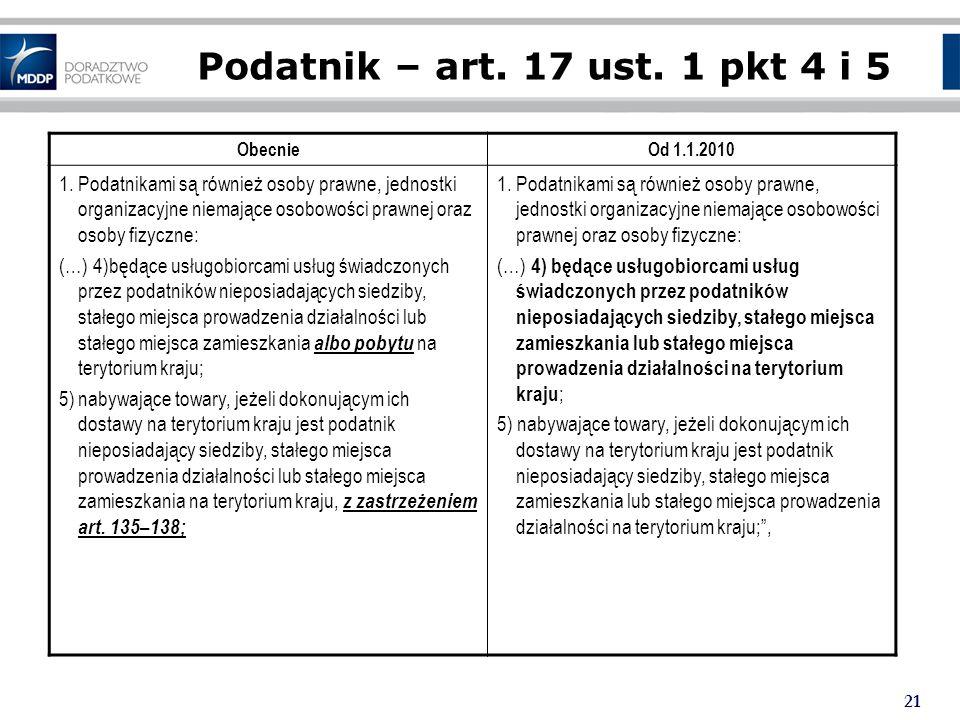 21 Podatnik – art.17 ust. 1 pkt 4 i 5 ObecnieOd 1.1.2010 1.