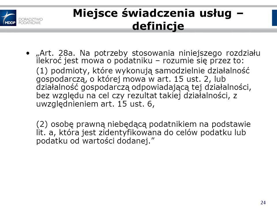 24 Miejsce świadczenia usług – definicje Art.28a.