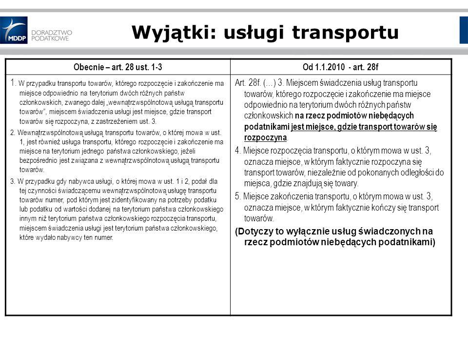 Wyjątki: usługi transportu Obecnie – art.28 ust. 1-3Od 1.1.2010 - art.
