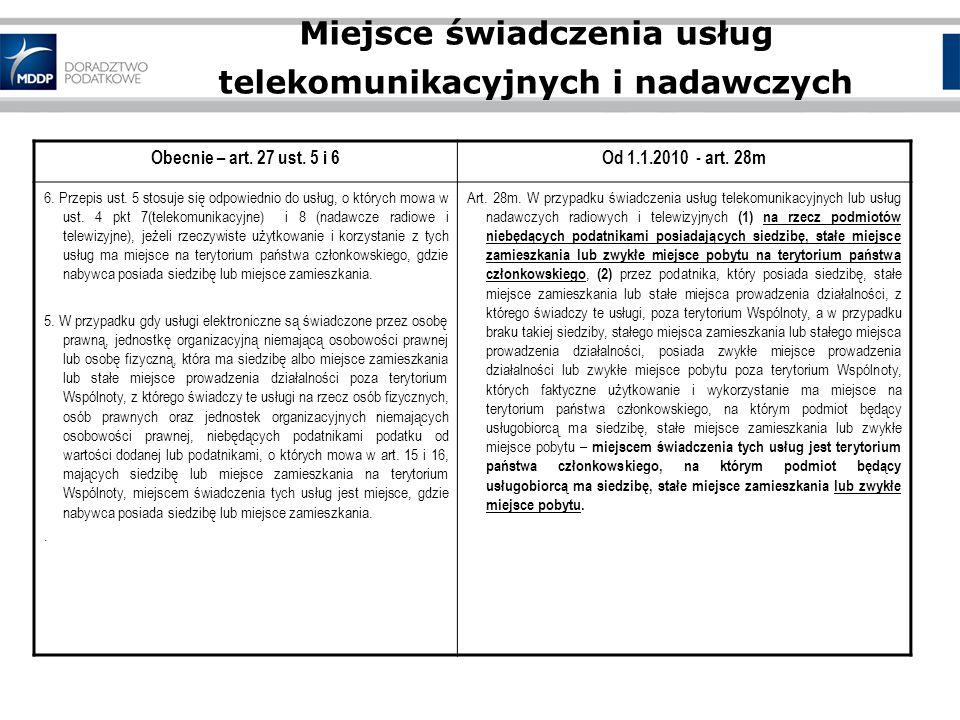 Miejsce świadczenia usług telekomunikacyjnych i nadawczych Obecnie – art.