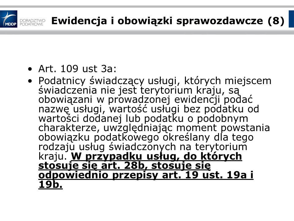 Ewidencja i obowiązki sprawozdawcze (8) Art.