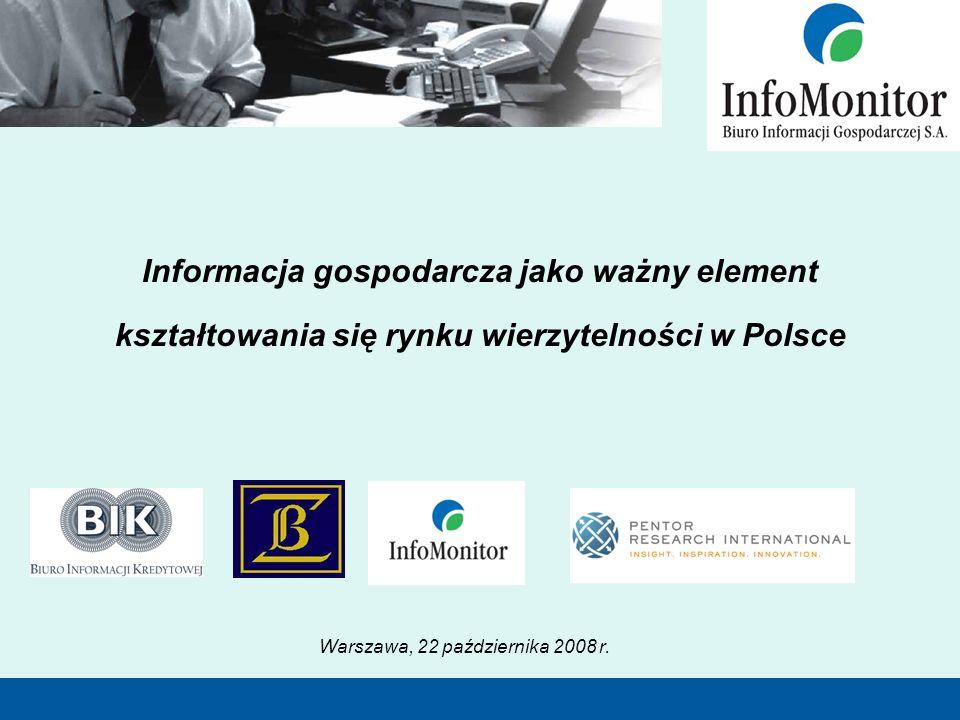 Informacja gospodarcza jako ważny element kształtowania się rynku wierzytelności w Polsce Warszawa, 22 października 2008 r.