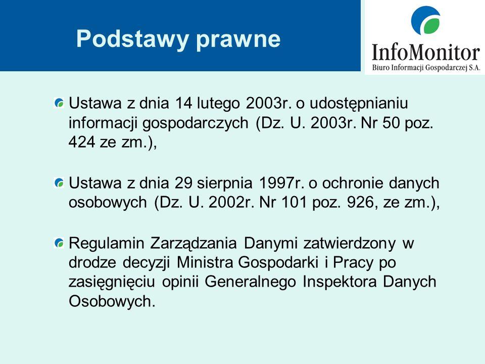 Podstawy prawne Ustawa z dnia 14 lutego 2003r. o udostępnianiu informacji gospodarczych (Dz.