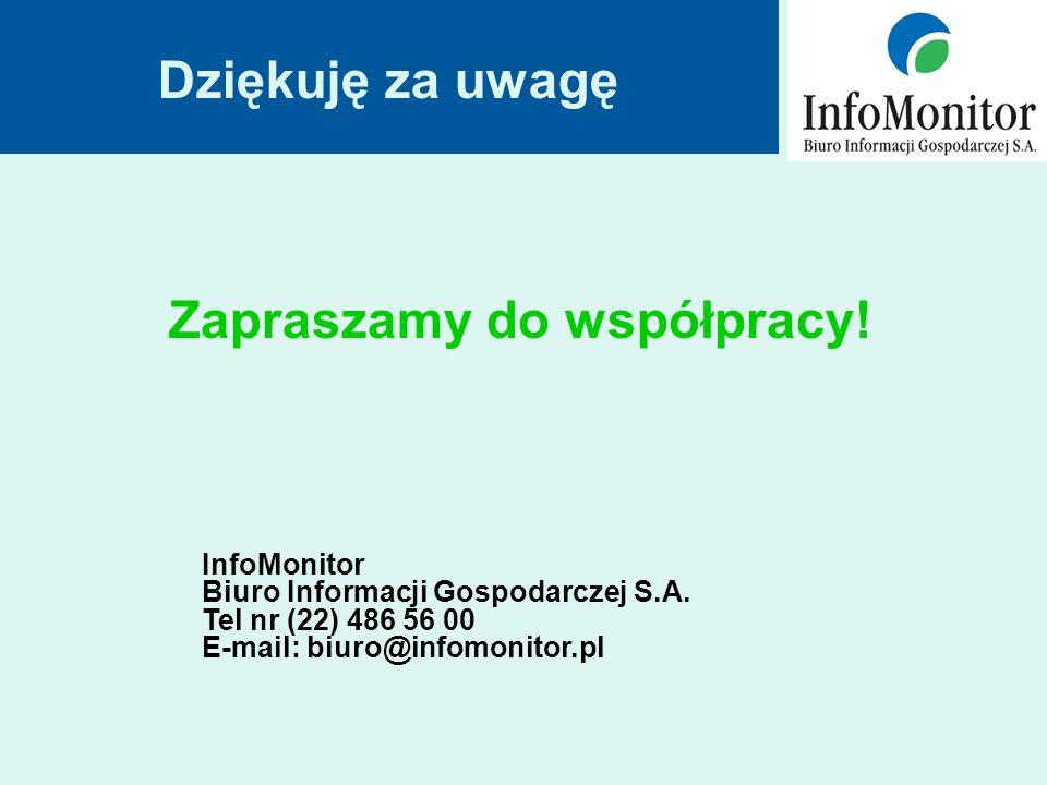 Zapraszamy do współpracy. Dziękuję za uwagę InfoMonitor Biuro Informacji Gospodarczej S.A.