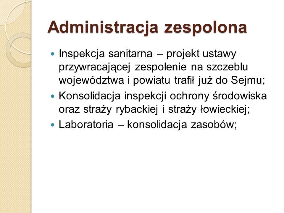 Administracja zespolona Inspekcja sanitarna – projekt ustawy przywracającej zespolenie na szczeblu województwa i powiatu trafił już do Sejmu; Konsolid