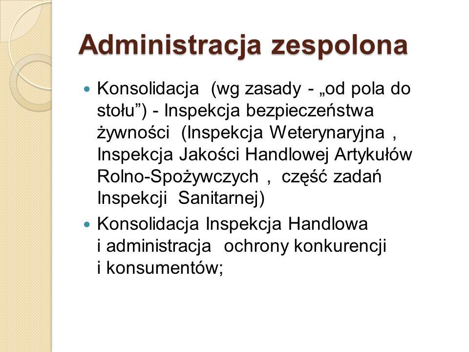 Administracja zespolona Konsolidacja (wg zasady - od pola do stołu) - Inspekcja bezpieczeństwa żywności (Inspekcja Weterynaryjna, Inspekcja Jakości Ha