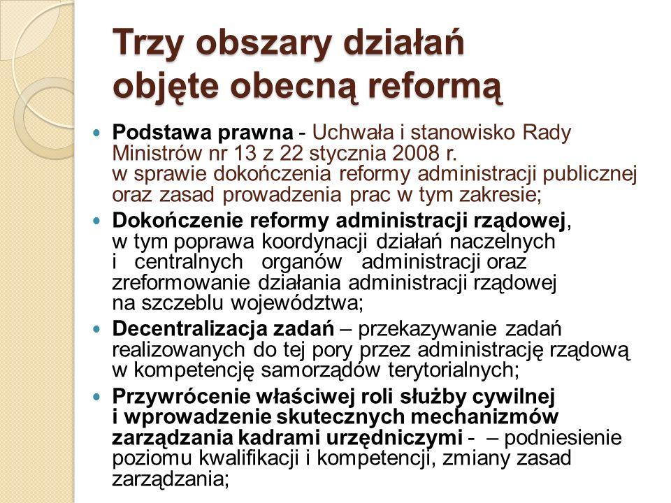 Trzy obszary działań objęte obecną reformą Podstawa prawna - Uchwała i stanowisko Rady Ministrów nr 13 z 22 stycznia 2008 r. w sprawie dokończenia ref