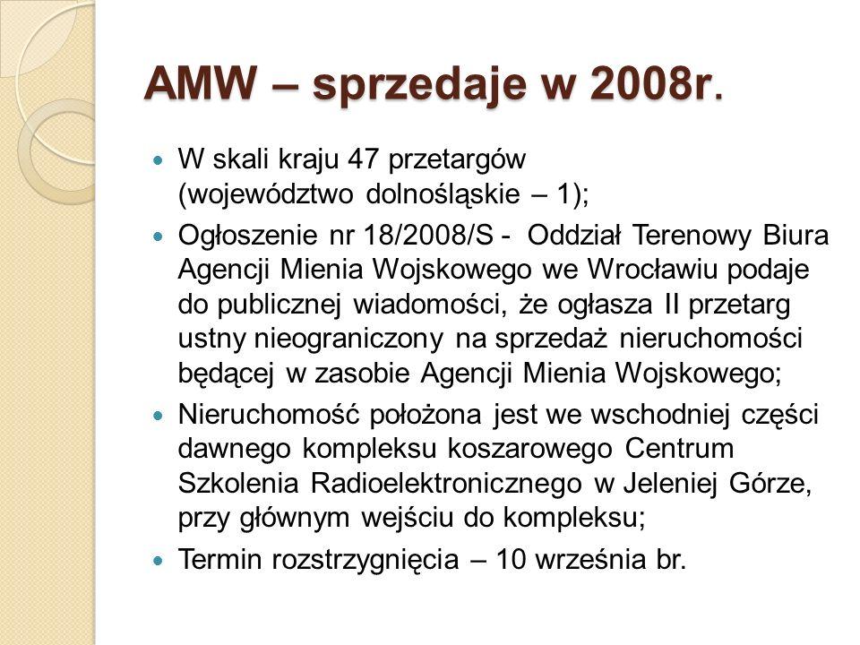 AMW – sprzedaje w 2008r. W skali kraju 47 przetargów (województwo dolnośląskie – 1); Ogłoszenie nr 18/2008/S - Oddział Terenowy Biura Agencji Mienia W