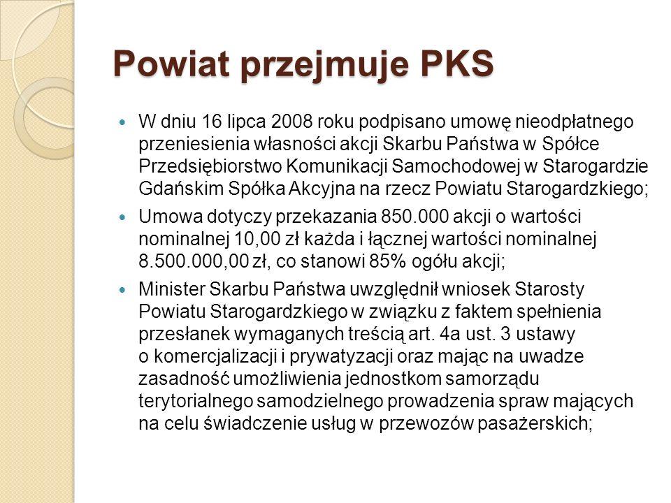 Powiat przejmuje PKS W dniu 16 lipca 2008 roku podpisano umowę nieodpłatnego przeniesienia własności akcji Skarbu Państwa w Spółce Przedsiębiorstwo Ko