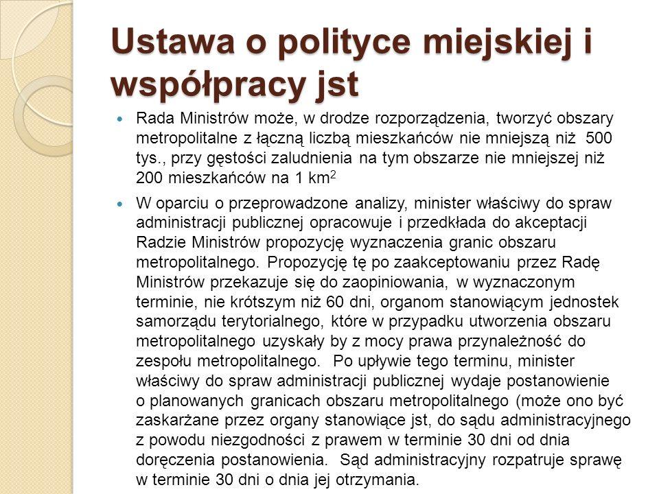 Ustawa o polityce miejskiej i współpracy jst Rada Ministrów może, w drodze rozporządzenia, tworzyć obszary metropolitalne z łączną liczbą mieszkańców
