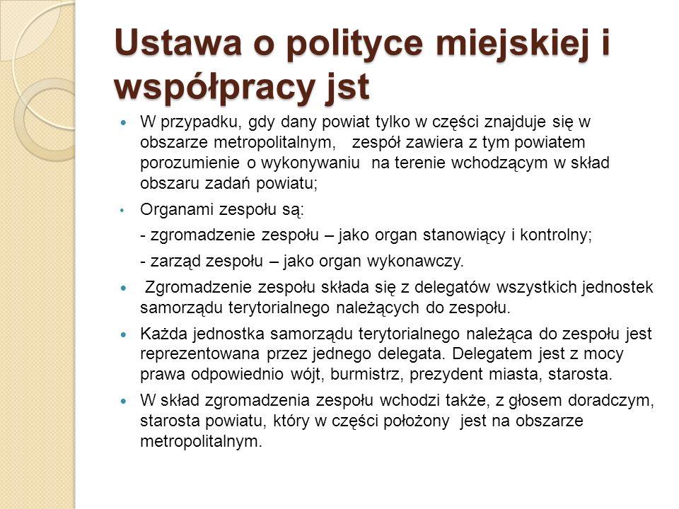 Ustawa o polityce miejskiej i współpracy jst W przypadku, gdy dany powiat tylko w części znajduje się w obszarze metropolitalnym, zespół zawiera z tym