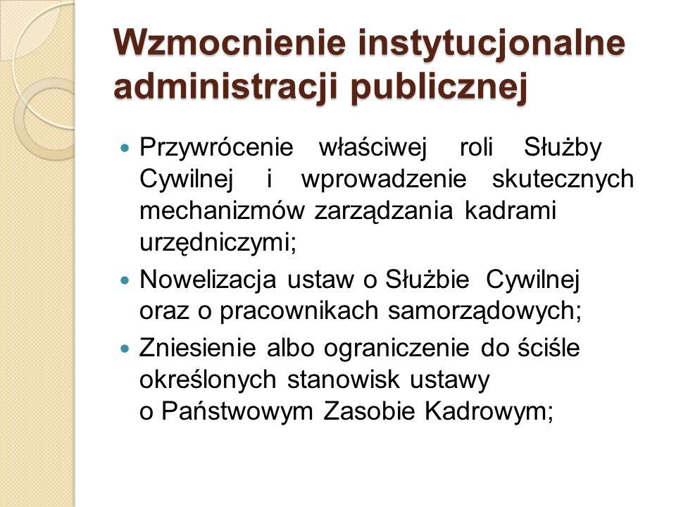 Wzmocnienie instytucjonalne administracji publicznej Przywrócenie właściwej roli Służby Cywilnej i wprowadzenie skutecznych mechanizmów zarządzania ka