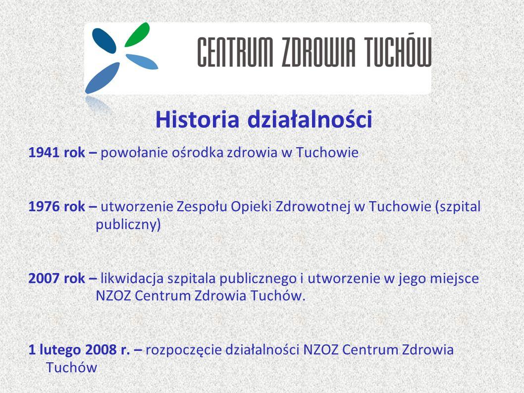 Historia działalności 1941 rok – powołanie ośrodka zdrowia w Tuchowie 1976 rok – utworzenie Zespołu Opieki Zdrowotnej w Tuchowie (szpital publiczny) 2