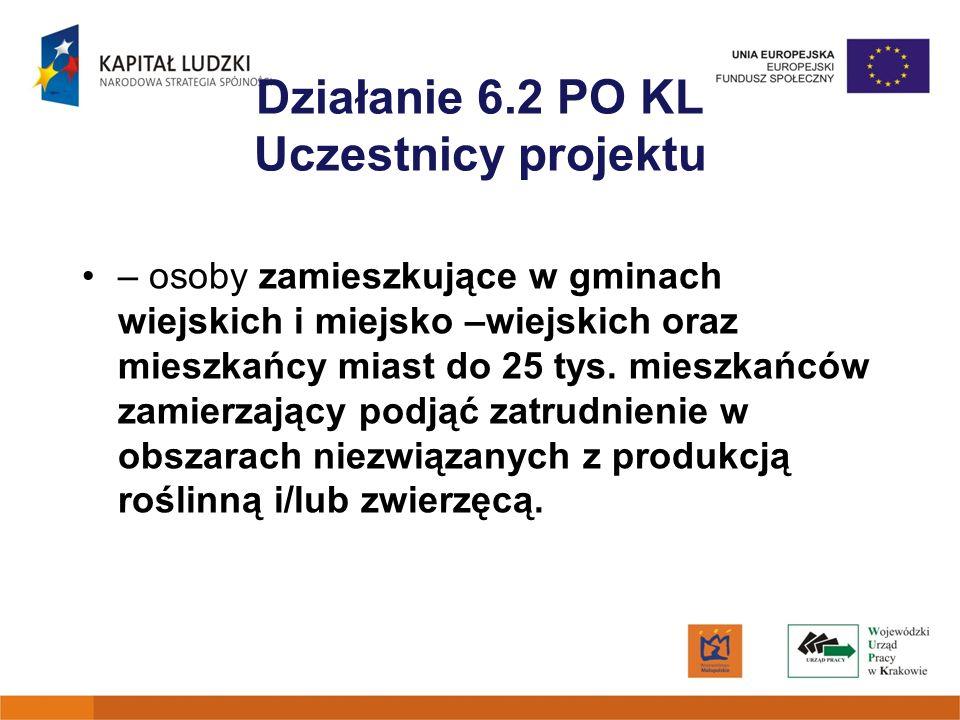 Działanie 6.2 PO KL Uczestnicy projektu – osoby zamieszkujące w gminach wiejskich i miejsko –wiejskich oraz mieszkańcy miast do 25 tys. mieszkańców za