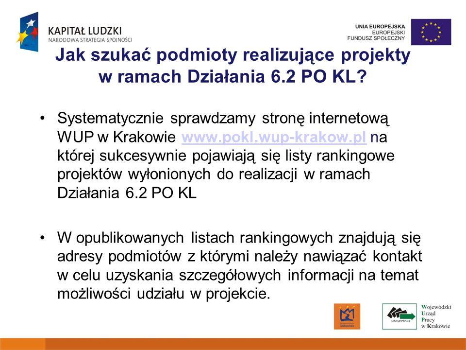 Jak szukać podmioty realizujące projekty w ramach Działania 6.2 PO KL? Systematycznie sprawdzamy stronę internetową WUP w Krakowie www.pokl.wup-krakow