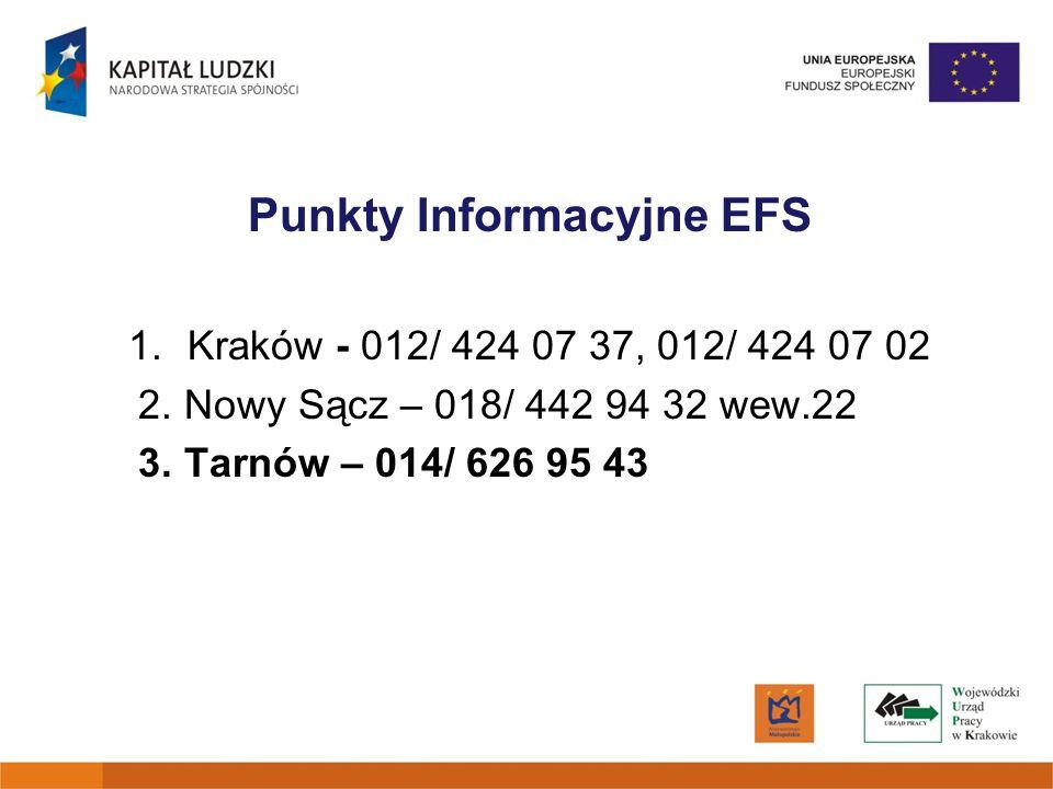 Punkty Informacyjne EFS 1.Kraków - 012/ 424 07 37, 012/ 424 07 02 2. Nowy Sącz – 018/ 442 94 32 wew.22 3. Tarnów – 014/ 626 95 43
