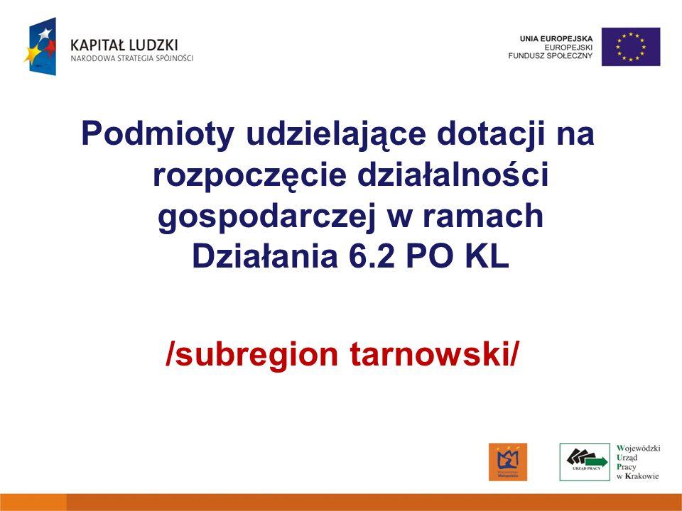 Podmioty udzielające dotacji na rozpoczęcie działalności gospodarczej w ramach Działania 6.2 PO KL /subregion tarnowski/