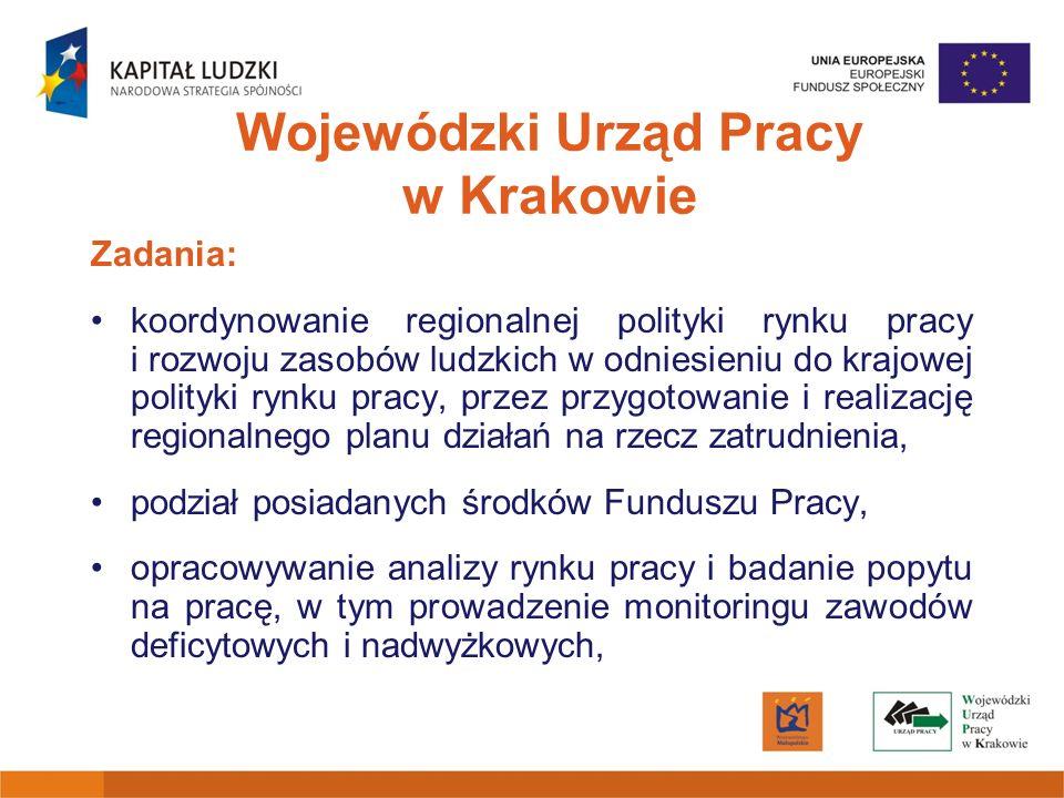 Wojewódzki Urząd Pracy w Krakowie Zadania: koordynowanie regionalnej polityki rynku pracy i rozwoju zasobów ludzkich w odniesieniu do krajowej polityk