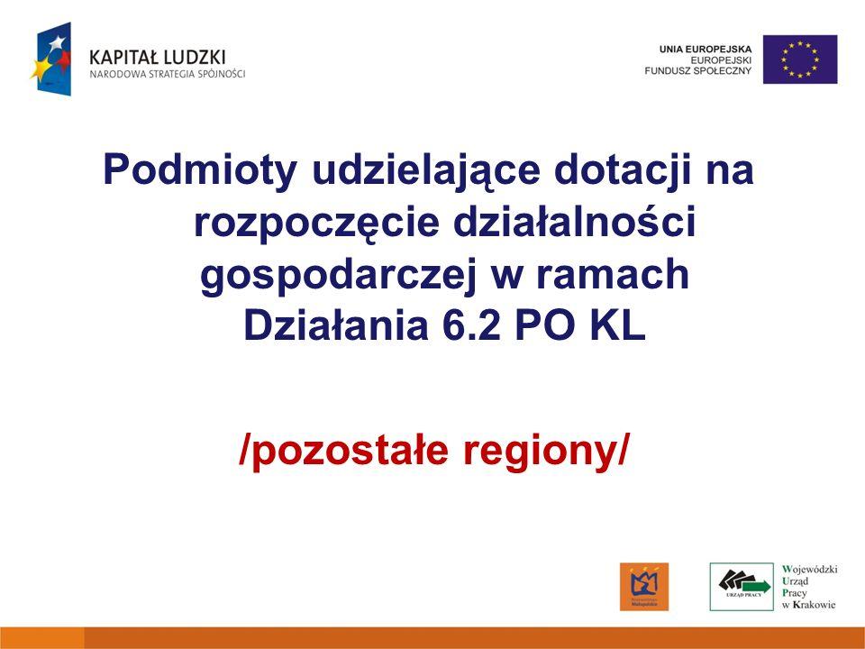 Podmioty udzielające dotacji na rozpoczęcie działalności gospodarczej w ramach Działania 6.2 PO KL /pozostałe regiony/