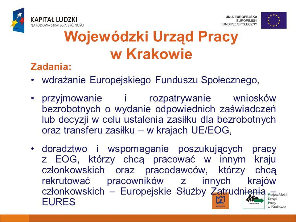 Zadania: wdrażanie Europejskiego Funduszu Społecznego, przyjmowanie i rozpatrywanie wniosków bezrobotnych o wydanie odpowiednich zaświadczeń lub decyz