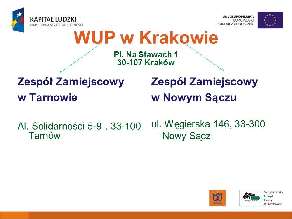 WUP w Krakowie Pl. Na Stawach 1 30-107 Kraków Zespół Zamiejscowy w Tarnowie Al. Solidarności 5-9, 33-100 Tarnów Zespół Zamiejscowy w Nowym Sączu ul. W
