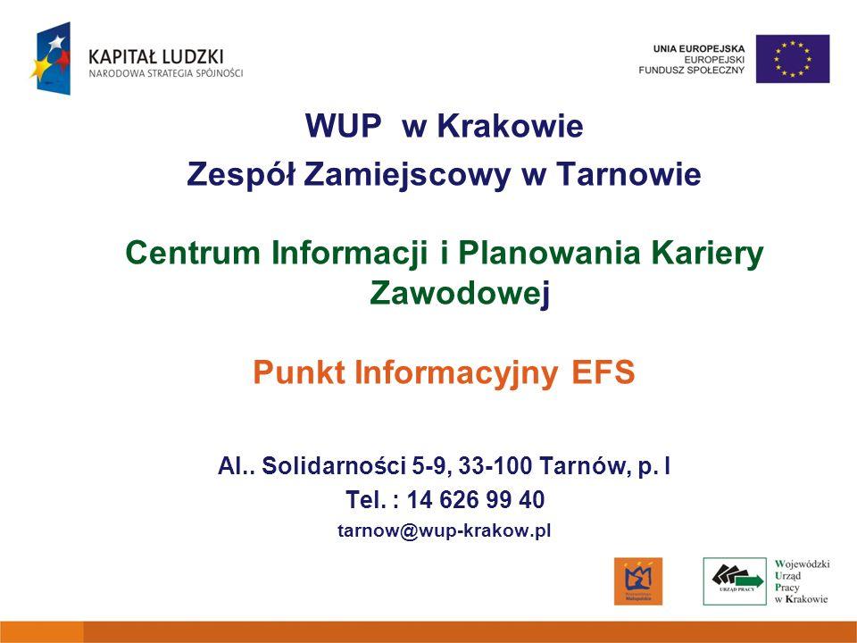 WUP w Krakowie Zespół Zamiejscowy w Tarnowie Centrum Informacji i Planowania Kariery Zawodowej Punkt Informacyjny EFS Al.. Solidarności 5-9, 33-100 Ta