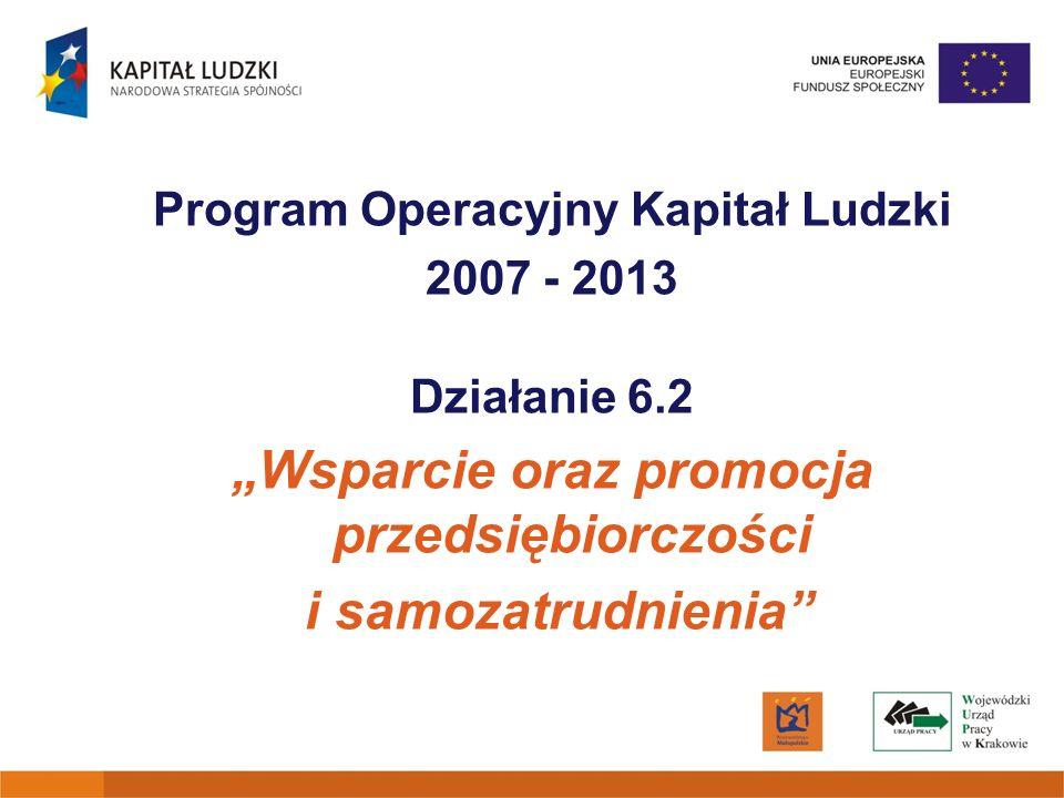 Działanie 6.2 PO KL Uczestnicy projektu Osoby fizyczne zamieszkujące i/lub pracujące i/lub uczące się na terenie Województwa Małopolskiego, zamierzające rozpocząć prowadzenie działalności gospodarczej, w tym w szczególności: – osoby pozostające bez zatrudnienia przez okres co najmniej 12 kolejnych miesięcy w ciągu ostatnich 24 miesięcy przed przystąpieniem do projektu;