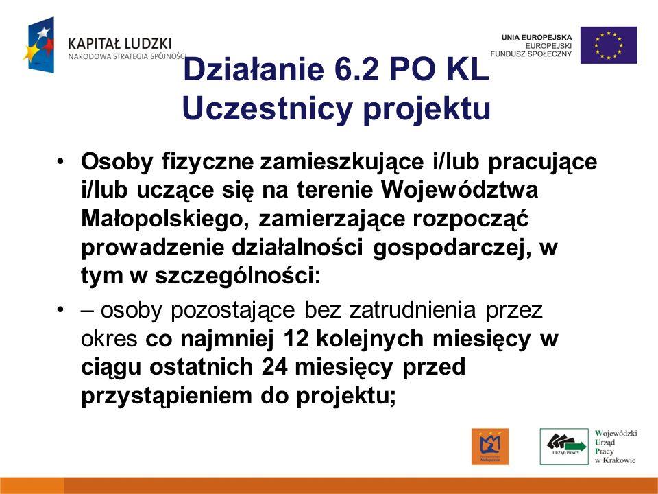 Działanie 6.2 PO KL Uczestnicy projektu Osoby fizyczne zamieszkujące i/lub pracujące i/lub uczące się na terenie Województwa Małopolskiego, zamierzają